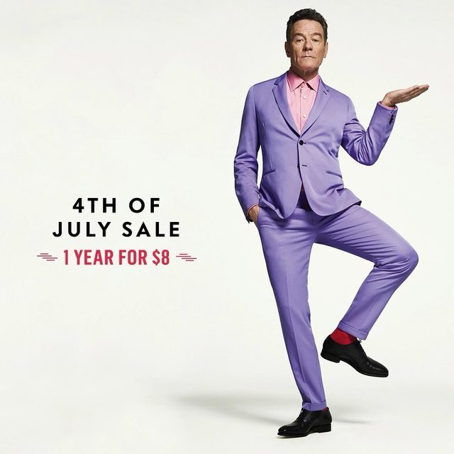 There are only hours left in Vanity Fair's Fourth of July subscription sale. Tap the link in bio to get a year of V.F. print + digital access for just $8. (Plus, enjoy a free tote.) Photograph of Bryan Cranston by @sebkimstudio.
