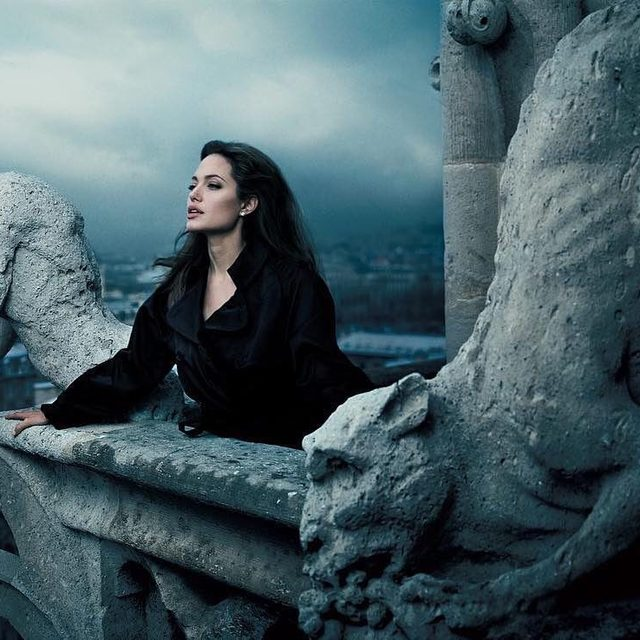 The new Maleficent movie is basically Game of Thrones for kids—complete with a King Joffrey-esque crossbow and a furious smize-off between #AngelinaJolie and #MichellePfeiffer. Watch the new trailer at the link in bio. 📷 by Annie Leibovitz for V.F. June 2005.