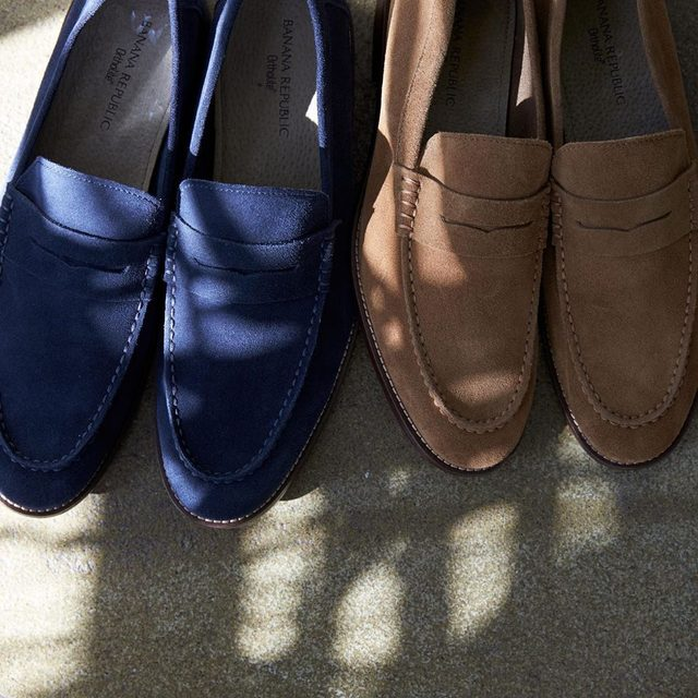 Suede loafers make it easy to put your best foot forward.