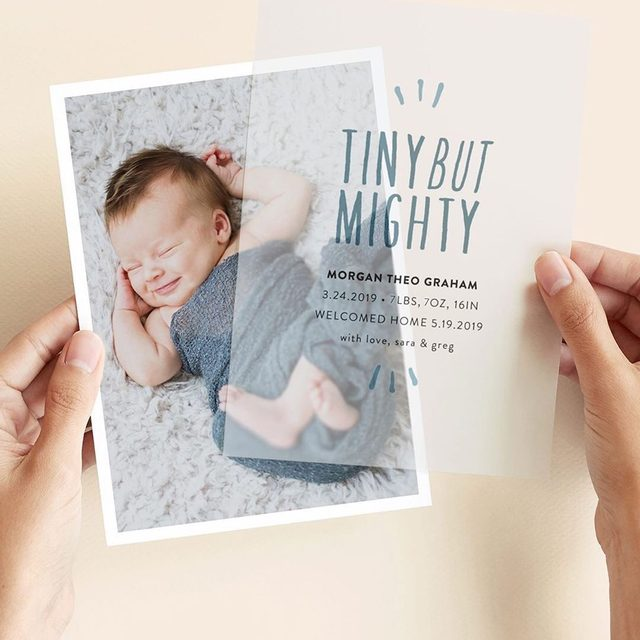 Tiny but mighty. 💖 Share your best news ever with new vellum overlay for birth announcements. Head to our Stories for more. — Design by @lea_d_design.