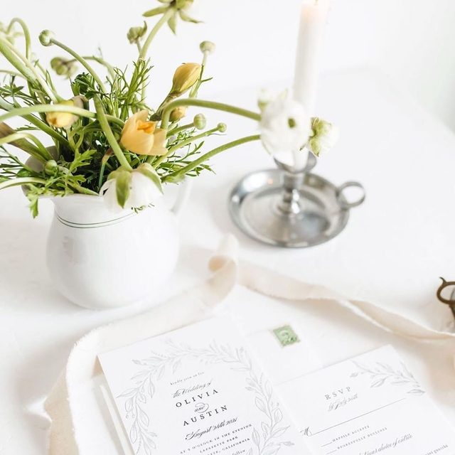 "A perfect pair: luxe letterpress and fresh florals. 💕 ""Verdure Couronne"" letterpress @mintedweddings invitation by @susanmoyal. #MintedWeddings #WeddingWednesday — Photo @whistlingdixiephoto"