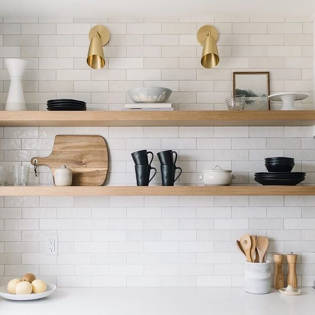 "Kitchen shelfie of our dreams featuring @amythalldesigns's ""LakeView II."" #MintedArt #KitchenGoals — Photo @204park"