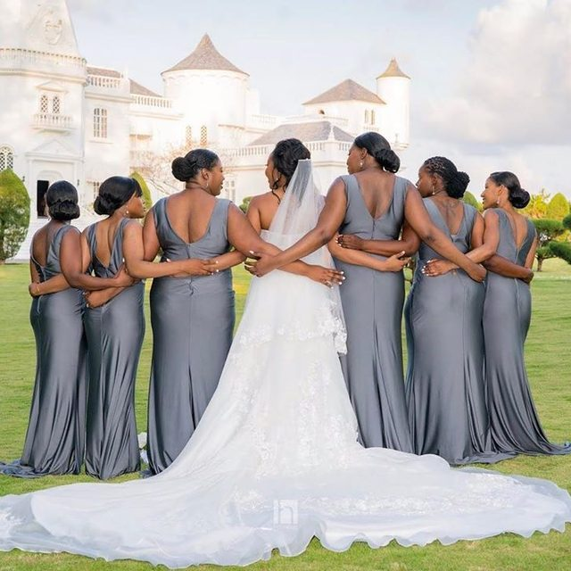 Gunmetal is a bold and beautiful color option for your #bridetribe - we're obsessing over this bridal party! KL-200021 @styleweekender