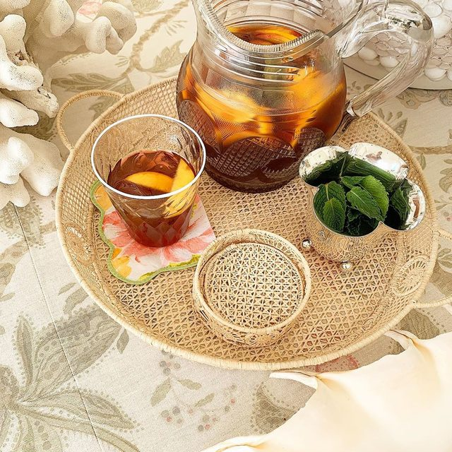 Iced tea with some of my favorite straw items.. raffia coasters are a great hostess summer gift.