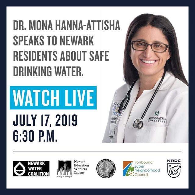 Newark residents deserve safe drinking water. Period. On Wednesday, July 17, we'll be co-hosting a conversation with Dr. Mona Hanna-Attisha, the doctor who helped uncover the #FlintWaterCrisis, and local advocates to help residents learn more about lead in Newark's drinking water. Watch live on NRDC's Facebook and Instagram. Visit the link in our profile for more info.💧💪 #newark #drinkingwater #safedrinkingwater #publichealth #health #environmentaljustice