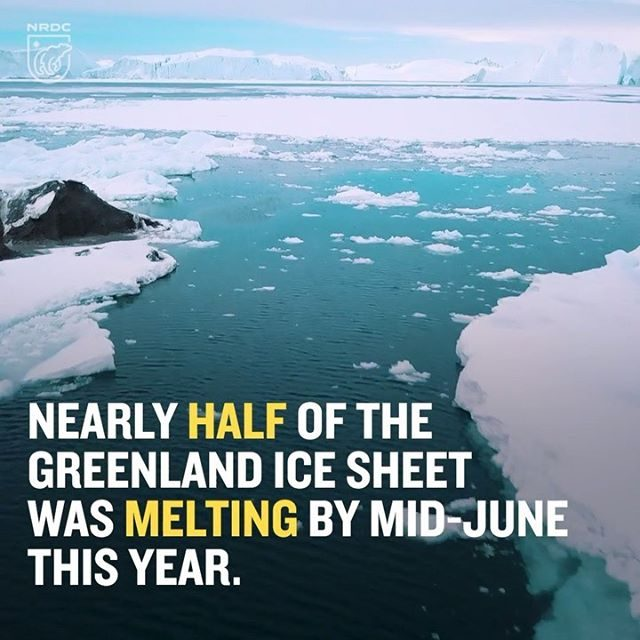 The melting of the Greenland ice sheet has accelerated to a terrifying rate, as near-record temperatures undermine one of the most important ice stores on earth 😨 It's not a far-away problem. If the Greenland ice sheet melted completely it alone would cause sea levels to rise 23 feet. Visit the link in our bio to learn more.  #climatechange #globalwarming #saveourplanet #environment #greenland #ice #icesheets