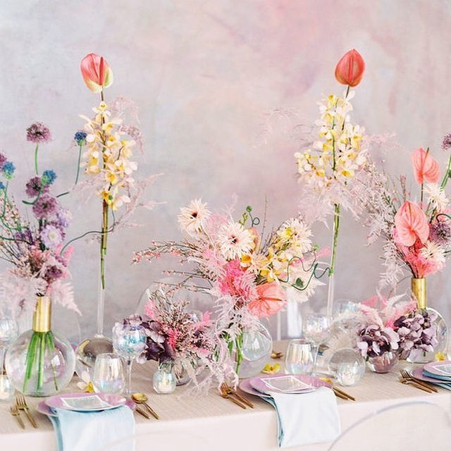 💎🌸✨ #prismatic wedding? Yes please! @smithjamesevents and @oftheflowers giving us aaaallllll the feels with our #dupioniquelinen in Blush and Ice Blue 💕 Photography @sallypineraphoto featured on @100_layercake today #latavolalinen #transformyourtable #modernwedding #modernbride #thinkpink #prettyinpink #millenialpink #pinkwedding #pastelflowers #pastelcolors #livecolorfully #losangeles #losangeleswedding
