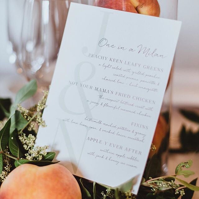 "Things we love: a delicious reception dinner + clever wedding puns. ""Over and Over"" menu design @lea_d_design. #MintedWeddings — Photo @lararosephoto 