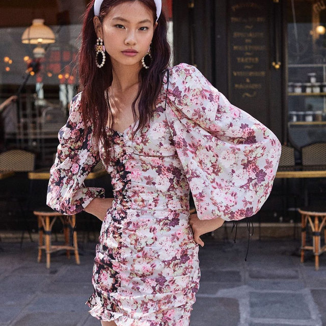 Introducing the Houston Mini Dress. Featuring a dual floral print and gorgeous 80s-inspired billowy sleeves. She's a keeper. #prefall19
