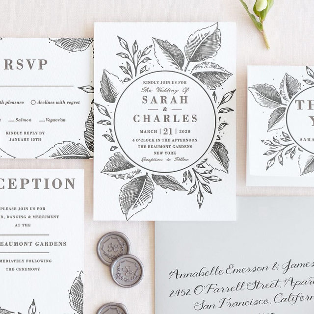 "A lasting impression. The NEW 2019 letterpress collection is out. Discover new designs of our most luxurious printing technique, deeply hand-pressed with rich, vibrant inks on thick 100% cotton paper. Shop now via the #linkinbio. ""Garden Botanicals"" letterpress wedding invitation @oma_n._ramkhelawan. • • • • • #engaged #weddingideas #weddinginspiration #weddingdetails #weddingphotography #weddingplanning #weddingflatlay #justengaged #thatsdarling #pursuepretty #theknot #sayido #howtheyasked #letterpress #weddinginvitations #savethedate #weddinggoals #weddingseason #summerwedding #fallwedding #destinationwedding #design #style #art #diy #wedding"