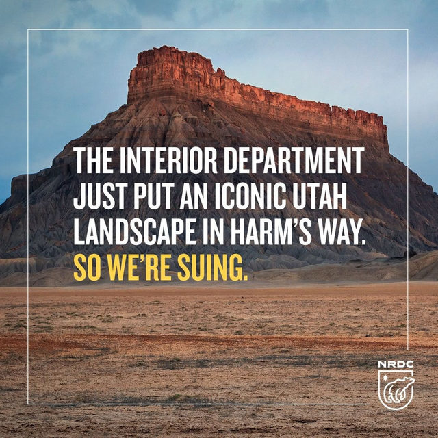 NRDC and the Southern Utah Wilderness Alliance are suing the Bureau of Land Management (BLM) for ignoring the environmental harms of off-road vehicle use around Utah's iconic #FactoryButte landmark. 🌄  Earlier this summer, the BLM quietly ended nearly 13 years of protection of one of Utah's iconic natural landmarks.  The BLM has a duty to manage our public lands for a wide variety of uses and users and should be preventing activities that cause extensive damage to things like soil or endangered species.  The agency's decision to, under the cloak of secrecy, reopen a vast and fragile ecosystem to one of the most destructive uses possible, is irresponsible and wrong. So we're suing. 👊 Read more about Factory Butte and our lawsuit in our profile link. - #nature #utah #BLM #keepitpublic #publiclands