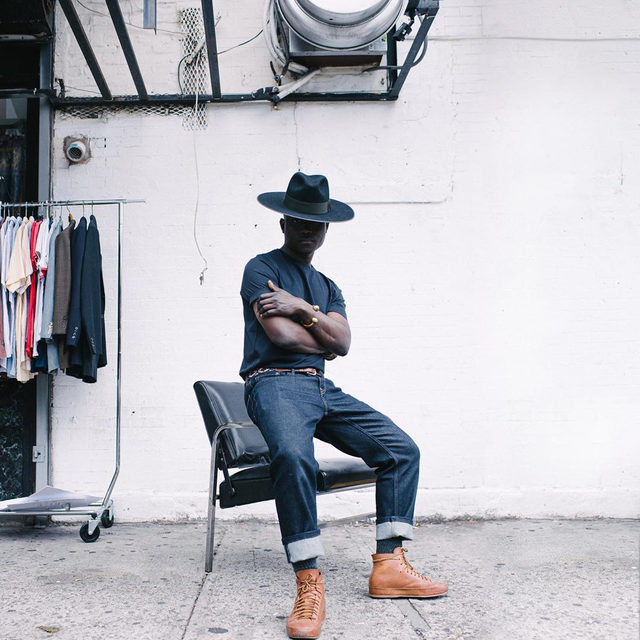 """From childhood, creativity has always been deeply rooted in me. I want my work to focus on the stories that are often untold or misunderstood."" Meet @dapperlou, artist and Brooklyn native of Haitian heritage. #BRLegacy  To launch our Legacy Denim, we teamed up with Dapper and friends at Brooklyn-based Dapper Studios. Check the link in bio for the full story."