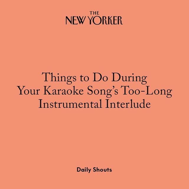 Some ideas of things to do during the four-minute guitar solo in the middle of that song you thought you'd nail at office karaoke. Tap the link in our bio to read the full story, by @clairegfriedman.