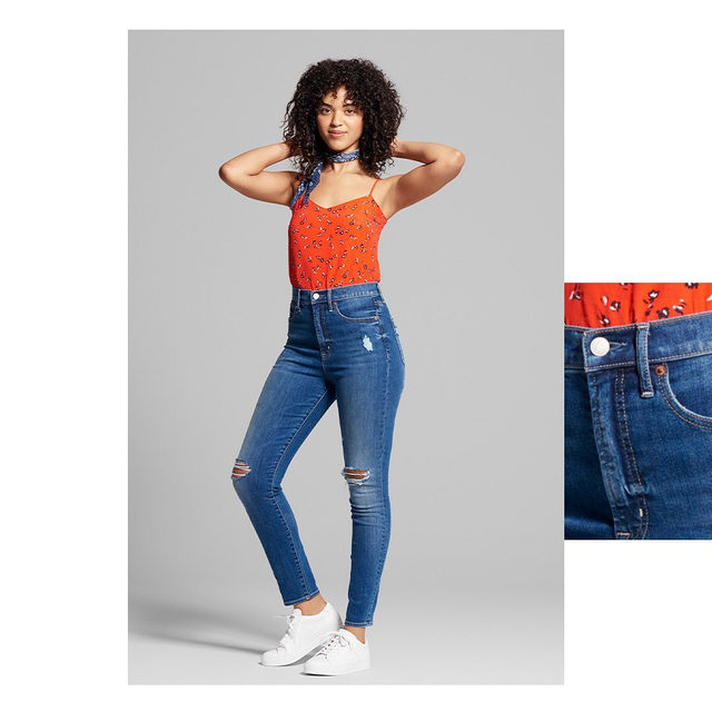 Our #1 bestseller, now in an ultra-high rise to hit all your high notes. Tap to shop the Sky High True Skinny. #GapDenim