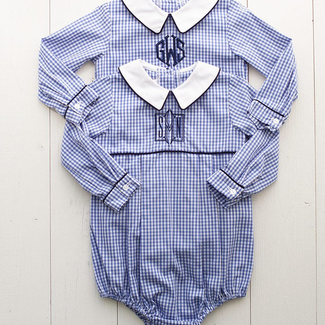 We have a few monogram options on this sweet little boys bubble. What one would y'all choose?