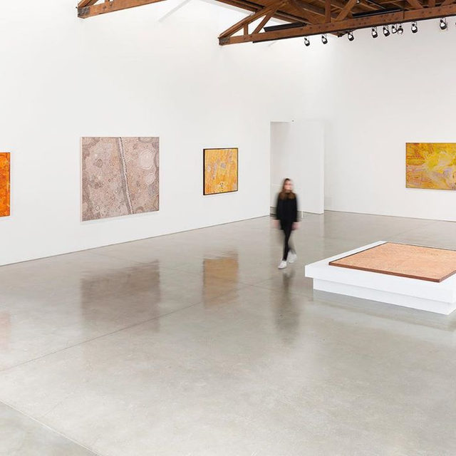 "#DesertPainters: Visit ""Desert Painters of Australia Part II"" currently on view at Gagosian, Beverly Hills.  The exhibition occupies both ground-floor galleries, with paintings by three generations of leading artists.  These compelling paintings that embody ancestral power offer everything from dynamic geometric patterns to topological imagery, channeling diverse conceptions of land, human life, and the passing of time. Learn more via the link in our bio. __________ #Gagosian  Artwork, left to right: © Naata Nungurrayi/Copyright Agency. Licensed by Artists Rights Society (ARS), New York, 2019; © Yinarupa Nangala; © Makinti Napanangka/Copyright Agency. Licensed by Artists Rights Society (ARS), New York, 2019; © Ronnie Tjampitjinpa/Copyright Agency. Licensed by Artists Rights Society (ARS), New York, 2019; © Emily Kame Kngwarreye/Copyright Agency. Licensed by Artists Rights Society (ARS), New York, 2019. Photo: Fredrik Nilsen"