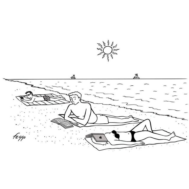 Unplugging at the beach. #TNYcartoons
