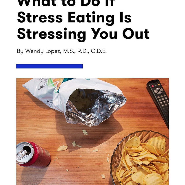 You heard it here first: Sometimes, stress eating—like having some ice cream after a bad day—is totally OK. But if it's a coping mechanism you constantly rely on, you may want to think about how you can address (and change) that behavior. Wendy Lopez, R.D., of @foodheaven shares three things you can do if stress eating is stressing you TF out at the link in bio.