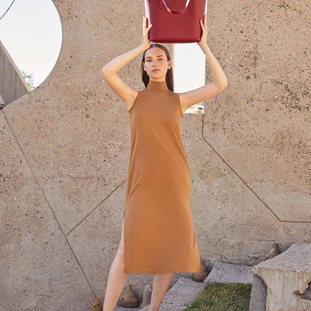Pure lines meet functional versatility.  Meet our August collection — a selection of foundational pieces designed for early autumn days. Featuring the Turtleneck Dress and Small Strucutred Tote, this carefully curated mix will take you from one season to the next with comfort and ease. Available now.