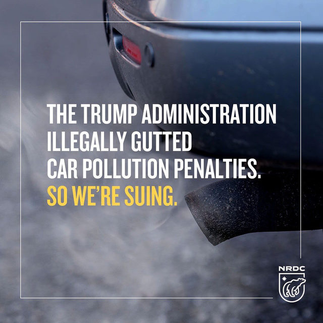 The Trump administration's Dept. of Transportation announced it would slash the penalties automakers must pay for not meeting federal fuel economy standards. That means instead of ramping up efforts to *cut* carbon pollution from cars and trucks, automakers will get a lesser punishment for polluting our air. This fee rollback is yet another of many examples of the Trump administration siding with polluters over the needs of our children, our health and our economic security. So we're suing. Visit the link in our bio to learn more.  #transportation #cars #carbonpollution #pollution #environment