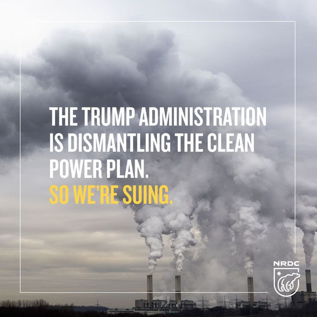 """Public health and environmental groups, including NRDC, took legal action today to overturn the Trump admin.'s  Affordable Clean Energy Rule (their weak, watered-down """"replacement"""" of the Clean Power Plan) which not only fails to reduce planet-warming emissions, but also breaks the law. So we'll see them in court. Learn more about our newest lawsuit in our profile link. - #CPP #cleanpowerplan #trump #politics #government #pollution #health #actonclimate #climatechange #climatechangeisreal"""