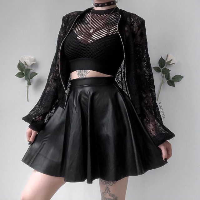 Black and lace 🖤 @belle.diore #blackmilk #blackmilkclothing #bmthewidowlacebomberjacket #bmroute66miniskaterskirt