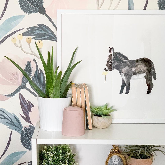"""Rise and shine. ☀ Brittany of @ohmydearblog spruces up her daughter Paisley's bedroom with """"Baby Donkey"""" #MintedArt from @cass.loh."""