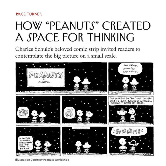 """""""Peanuts,"""" Charles Schulz once said, """"deals in defeat."""" At its core, the comic parses existential angst, strip by strip—not Cold War anxiety, a cloud under which """"Peanuts"""" developed and flourished, but the garden-variety anxieties found in everyday life. At the link in our bio, read Nicole Rudick on the beloved strip, which continues to astonish readers to this day with its thoughtful examination of humanity."""