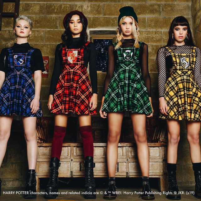 Our latest Harry Potter collection School's Out! is LIVE! Head to our website to check it out now #HarryPotter #blackmilkclothing #blackmilk #bmtartanslytherinaprondress #bmtartanravenclawaprondress #bmtartanhufflepuffaprondress #bmtartangryffindoraprondress
