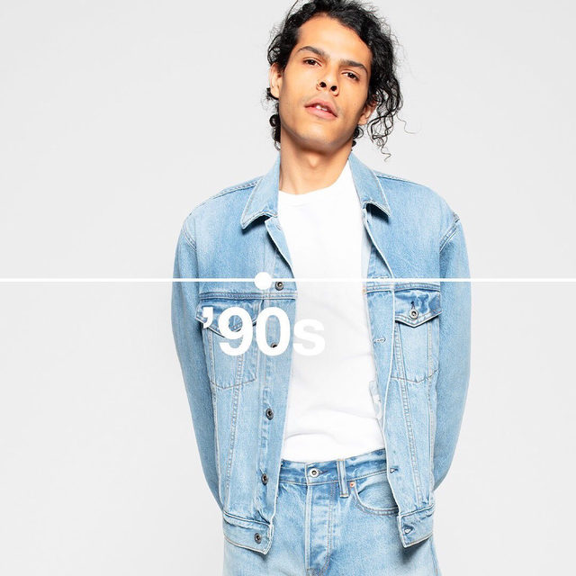 Denim Through the Decades. Celebrating 50 years of denim with limited-edition looks from the archives. Like this '90s oversized Icon jacket and Easy fit jean. Shop via the link in bio.