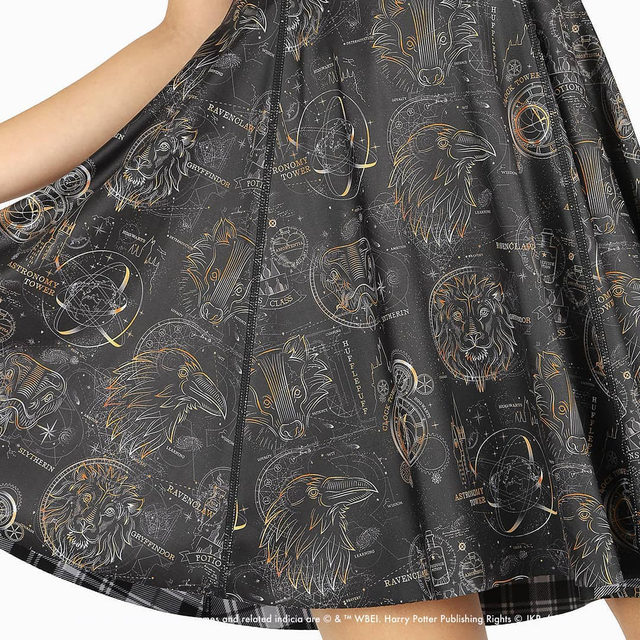 You'll be the envy of the class in this gorgeous Harry Potter Inside Out Dress! Get yours now! #HarryPotter #blackmilkclothing #blackmilk #bmtartanhogwartsvscelestialmagiciod