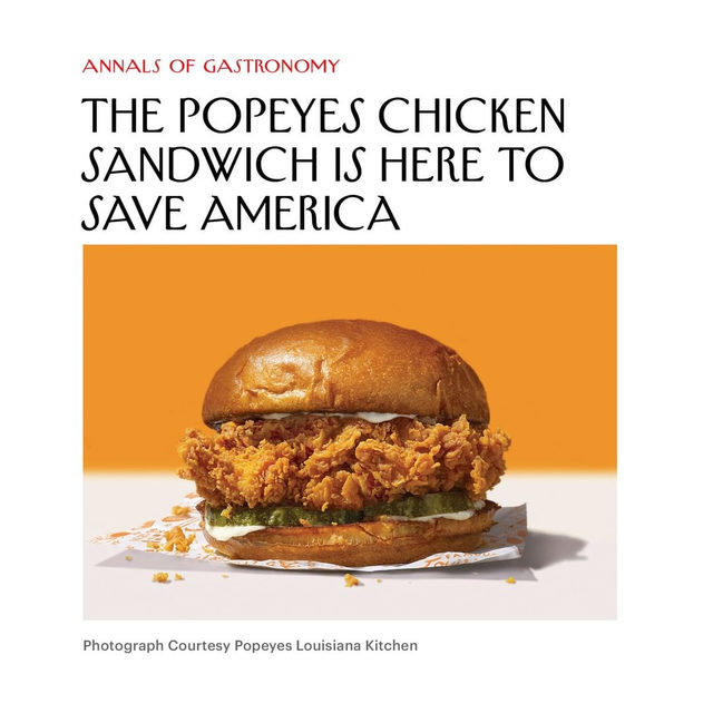 """New Yorker food writer @helenr is hot for the Popeyes fried-chicken sandwich: """"Together, the elements of the sandwich are so perfectly balanced that they meld into one another to form a new, entirely coherent whole,"""" she writes. Tap the link in our bio to read about how Popeyes became a worthy challenger to the hegemony of Chik-fil-A."""