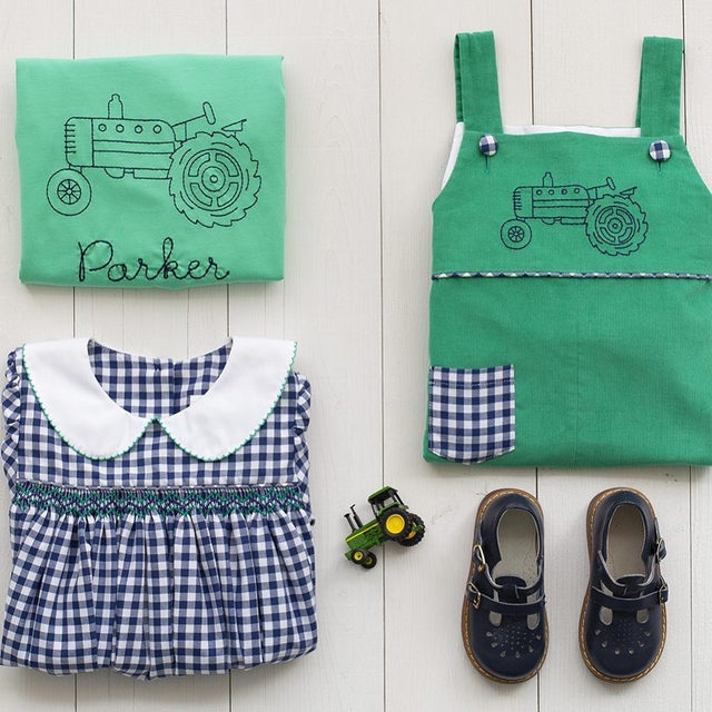 Loving everything about these outfits.  Classic checks mixed with cord, hand smocking, and line embroidery.  Yes, please 🚜🚜