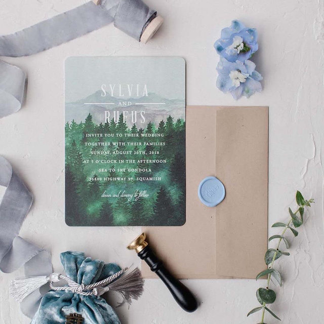 "When you get married on top of a mountain in beautiful British Columbia, there's no better invitation design than ""Adventure Awaits"" from @ellyisdrawing. #MintedWeddings — #MintedWeddingPlanner @kitty_wedoweddings of @wedoweddingsetc.ca 