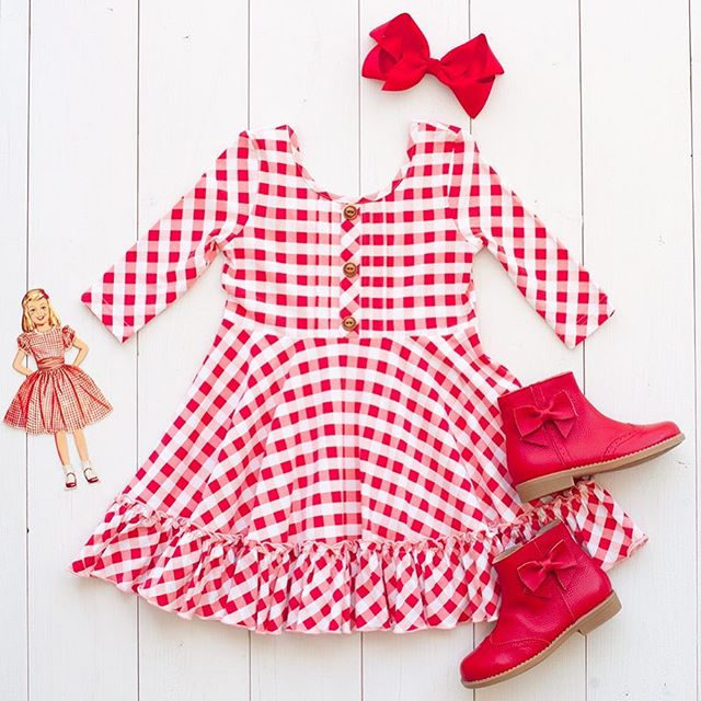 The perfect twirl dress! Classic check with perfect twirl-a-bility!  This outfit has her covered for Christmas AND Valentines 🎄❤️
