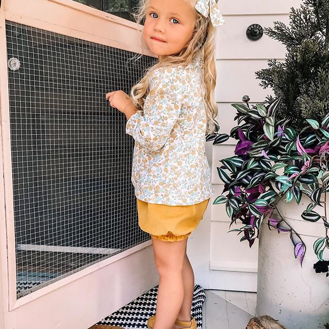We are falling in love with floral this Fall 🏵️🌻 Sevi is wearing our Dover Floral top and bloomers with matching bow.  Shop the link in our profile |@thorn_cove_abode