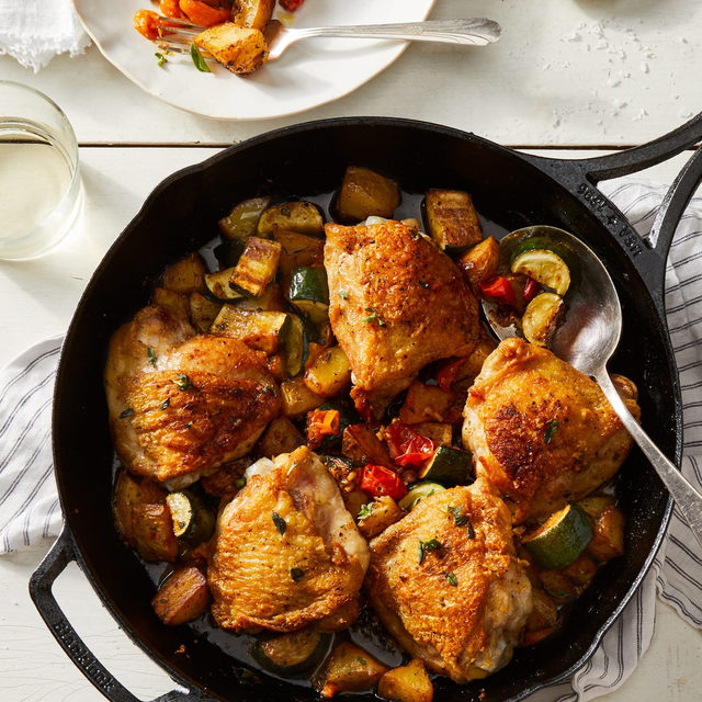 In case you haven't heard, we love chicken thighs around these parts—grilled, roasted, braised, any which way really. But Assistant Editor @you_feta_believe_it's new favorite comes courtesy of our test kitchen director. His real name is @joshuabkchef, but in honor of these garlicky, one-skillet chicken thighs, he shall henceforth be known as the Poultry Prince™. 👑 Starring juicy meat, unimaginably crispy skin, and schmaltz-fried summer veggies—oh, and don't forget the @lodgecastiron skillet—this is one winner winner, 🐔 dinner you're going to want to make now and forever. Head to the link in our bio to grab the recipe for this one-pan wonder! #f52partner