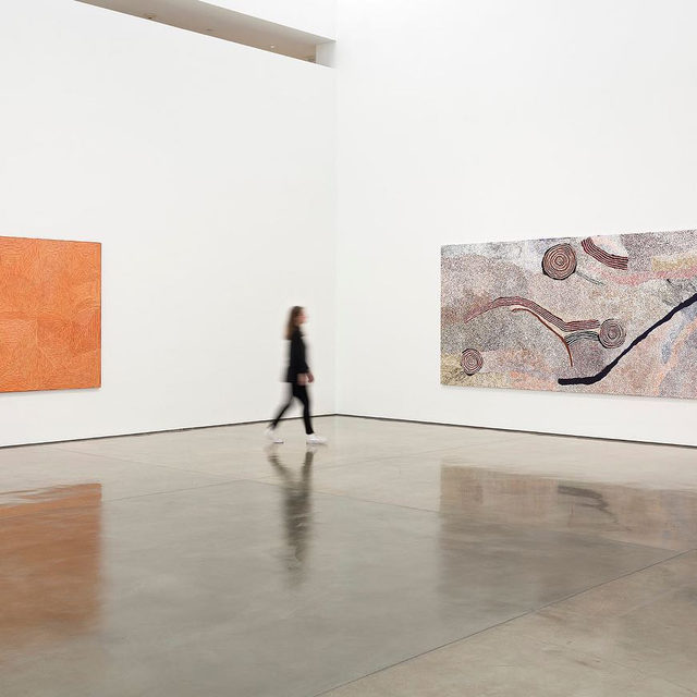 """#DesertPainters: Visit """"Desert Painters of Australia Part II"""" at Gagosian, Beverly Hills before it closes on Friday, September 6!  The exhibition occupies both ground-floor galleries, with paintings by three generations of leading Indigenous Australian artists. These compelling paintings that embody ancestral power offer everything from dynamic geometric patterns to topological imagery, channeling diverse conceptions of land, human life, and the passing of time. Learn more via the link in our bio. __________ #Gagosian (1) Artwork, left to right: © George Tjungurrayi/Copyright Agency. Licensed by Artists Rights Society (ARS), New York, 2019; © Bill Whiskey Tjapaltjarri. Photo: Fredrik Nilsen (2) Artwork, left and right: © Ronnie Tjampitjinpa/Copyright Agency. Licensed by Artists Rights Society (ARS), New York, 2019; center: © Warlimpirrnga Tjapaltjarri/Copyright Agency. Licensed by Artists Rights Society (ARS), New York, 2019. Photo: Fredrik Nilsen"""