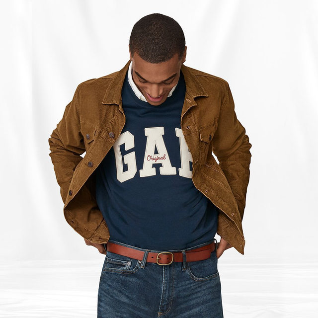 A classic logo sweatshirt and our Icon jacket in corduroy. A good call, any way you wear 'em. Tap to shop. #GapDenim