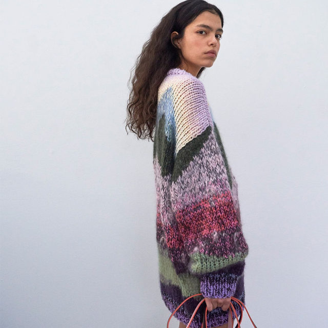 "The Clarity knit: a reinterpretation of our Wonderland print created in partnership with knit designer @lauradalgaardlaura . ""I decided to stay as true as possible to the colours of the Wonderland print, to let the lines of the landscape have the same naïve feeling that I often work with, to let the structure of the different yarns create the depth and the narrative"" Laura Dahlgård . Head to our link in bio to shop . It takes a FAMILY #AW19 #BaumundPferdgarten"