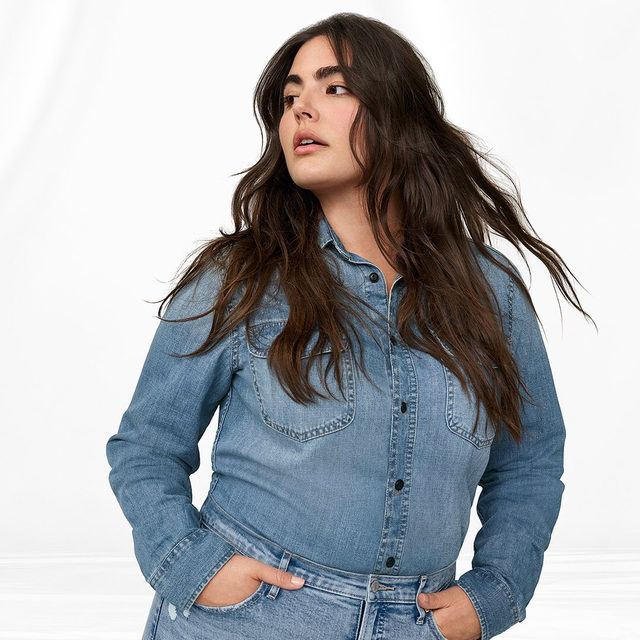 Quality, heritage, style. They're in our jeans. Tap to shop the new High Rise Cigarette Jean and Worker shirt. #GapDenim