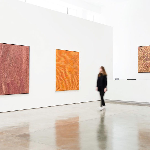 """#DesertPainters: Don't miss your chance to see """"Desert Painters of Australia Part II"""" at Gagosian, Beverly Hills before it closes tomorrow!  The exhibition occupies both ground-floor galleries, with paintings by three generations of leading Indigenous Australian artists. These compelling paintings that embody ancestral power offer everything from dynamic geometric patterns to topological imagery, channeling diverse conceptions of land, human life, and the passing of time. Learn more via the link in our bio. __________ #Gagosian Artwork, left to right: © Willy Tjungurrayi/Copyright Agency. Licensed by Artists Rights Society (ARS), New York, 2019; © Yukultji Napangati/Copyright Agency. Licensed by Artists Rights Society (ARS), New York, 2019; © Emily Kame Kngwarreye/Copyright Agency. Licensed by Artists Rights Society (ARS), New York, 2019. Photo: Fredrik Nilsen"""