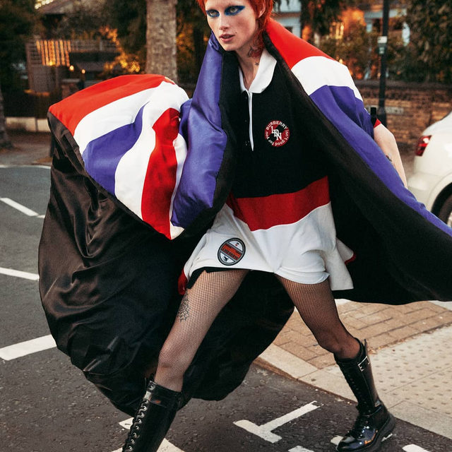In a historic first, #BritishVogue and @VogueParis have joined forces on a fashion shoot celebrating the best of British design. At @Burberry, @RiccardoTisci17's Union Jack cape invokes nostalgic feelings of the by-gone Bowie era, while at @Celine, @HediSlimane's new season heritage houndstooth and mahogany boots appear to come straight from the wardrobe of a young Diana, Princess of Wales. See the full story in the October 2019 issue of British Vogue, on newsstands now.  @RianneVanRompaey photographed by @MikaelJansson and styled by @EmmanuelleAlt, with hair by @JamesPecis, make-up by @MarkCarrasquillo, nails by @AmaQuashie and set design by @AndyHillmanStudio.