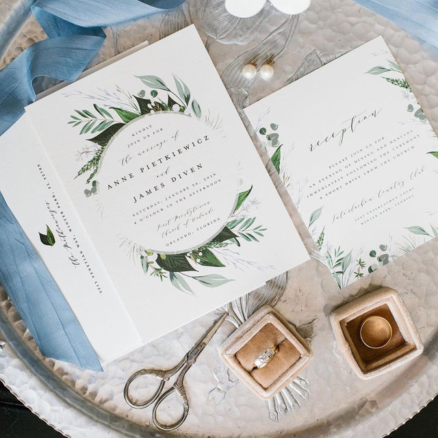 "#MintedWeddingsTip courtesy of #MintedWeddingPlanner @blueribbonweddings: discuss with your photographer beforehand on props to style your invitation photos. Vintage pieces are a must! ""Natures Greens"" wedding invitation by @susanmjoyal. 🍃 — Photo @lucychapmanphoto • • • • • #engaged #weddingideas #weddinginspiration #weddingdetails #weddingphotography #weddingplanning #weddingflatlay #justengaged #thatsdarling #pursuepretty #theknot #sayido #howtheyasked #marthaweddings #weddinginvites #invitations #weddinggoals #weddingseason #fallwedding #winterwedding #destinationwedding #design #style #art #diy #wedding"