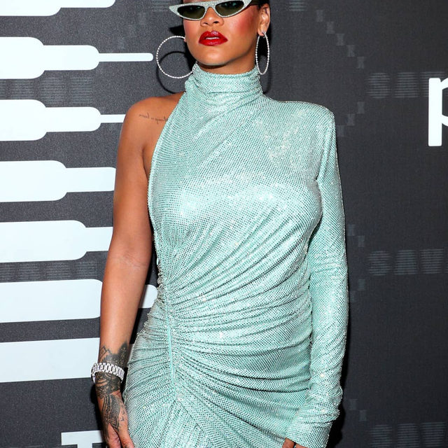 #Rihanna arrived at her @SavagexFenty show dressed in a shimmering @AlexandreVauthier couture asymmetrical dress, complete with micro sunglasses and dazzling diamond accessories. #SavagexFenty has become synonymous with body positivity, inclusion, and sensuality, and with performances by #DJKhaled, #BigSean and #AsapFerg as well as a stellar line-up of models including #CaraDelevingne, #GigiHadid, #BellaHadid, #JoanSmalls and #LaverneCox, it's one of the most anticipated shows featured on the calendar at #NYFW. Click the link in bio for more on the show.