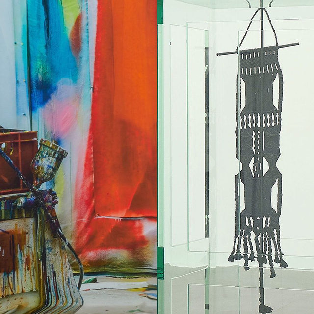 """#GrosseTrouve: Gagosian is pleased to present recent works by Katharina Grosse and Tatiana Trouvé. The exhibition will inaugurate Gagosian's Basel gallery programming, following """"Continuing Abstraction,"""" the group exhibition presented in conjunction with Art Basel 2019.  At first, Grosse's flamboyant prints and Trouvé's meditative sculptures appear contrapuntally opposed: silk against bronze and glass; dripping, aleatory colors against spare lines and volumes. Despite their contrasting approaches to materiality and hue—or perhaps because of them—each artist's work animates, illuminates, and adapts to the other's. Stop by the opening on Friday, September 13, from 6–8pm, at Gagosian, Basel! ___________ #KatharinaGrosse #TatianaTrouve #Gagosian @katharina_grosse Left: Katharina Grosse, """"Untitled,"""" 2019 (detail) © Katharina Grosse and VG Bild-Kunst Bonn, 2019. Right: Tatiana Trouvé, """"Les indéfinis,"""" 2017–18 (detail) © Tatiana Trouvé"""
