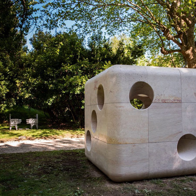 """Carsten Höller presents a large-scale die made of Portuguese limestone in """"Expanded,"""" currently on view at the Fondazione Giorgio Cini in Venice.  The exhibition features three newly commissioned works in stone by Höller, Marina Abramovic, and Julião Sarmento. It is part of """"Primeira Pedra"""" (First Stone), an experimental international research program that explores the potential of Portuguese stone. Find out more via the link in our bio! __________ #CarstenHoller #BiennaleArte2019 #Gagosian @fondazionegcini @experimentadesign @labiennale Carsten Höller, """"Dice (Limestone),"""" 2019 © Carsten Höller. Photo: Ricardo Gonçalves, courtesy the artist and the First Stone Programme"""