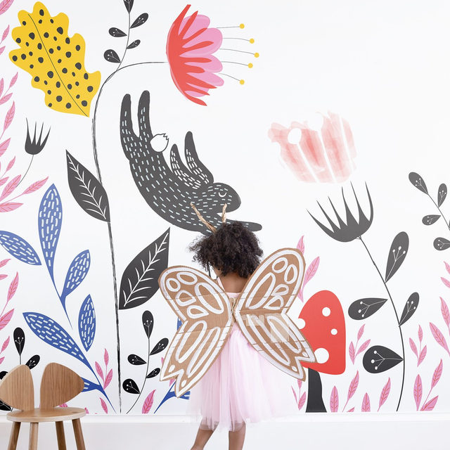 """Oh, the places you'll go. 💖 Let their imagination run wild with our latest collection of easy-to-install wall murals, specially designed for kids by independent artists. To celebrate, we're giving away one NEW kids' wall mural of your choice. — * Giveaway CLOSED! One lucky winner has been notified. Thank you for entering and stay tuned for more giveaways! * — One winner announced Monday, 9/16 in the comment section of this post. Good luck! """"Garden Mischief"""" design by Hannah Williams. #MintedMurals"""