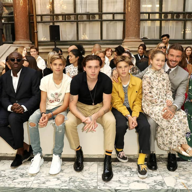 #DavidBeckham, Brooklyn, Romeo, Cruz and Harper all arrived to the British Foreign Office in Westminster to show their support for #VictoriaBeckham's #SS20 show at #LFW, taking their usual front row seat close to #BritishVogue editor-in-chief @Edward_Enninful. Click the link in bio for more on their front row appearance.