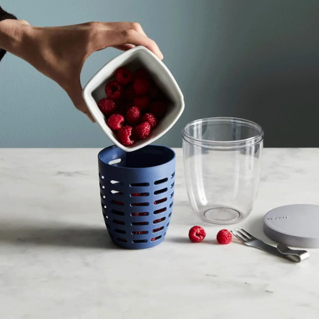 Our best-selling Veggie & Fruit To-Go Cups are back in stock and here to make sure your produce never goes wilty again. The clever double-layer lets you rinse fruit in the mini colander, then pop it right into the cup, where it can drain while you run out. Added bonus: it also comes with a small fork that fits right inside, so you can snack on the go. 💨 Grab yours via the link in bio. // 📸: @rockyluten